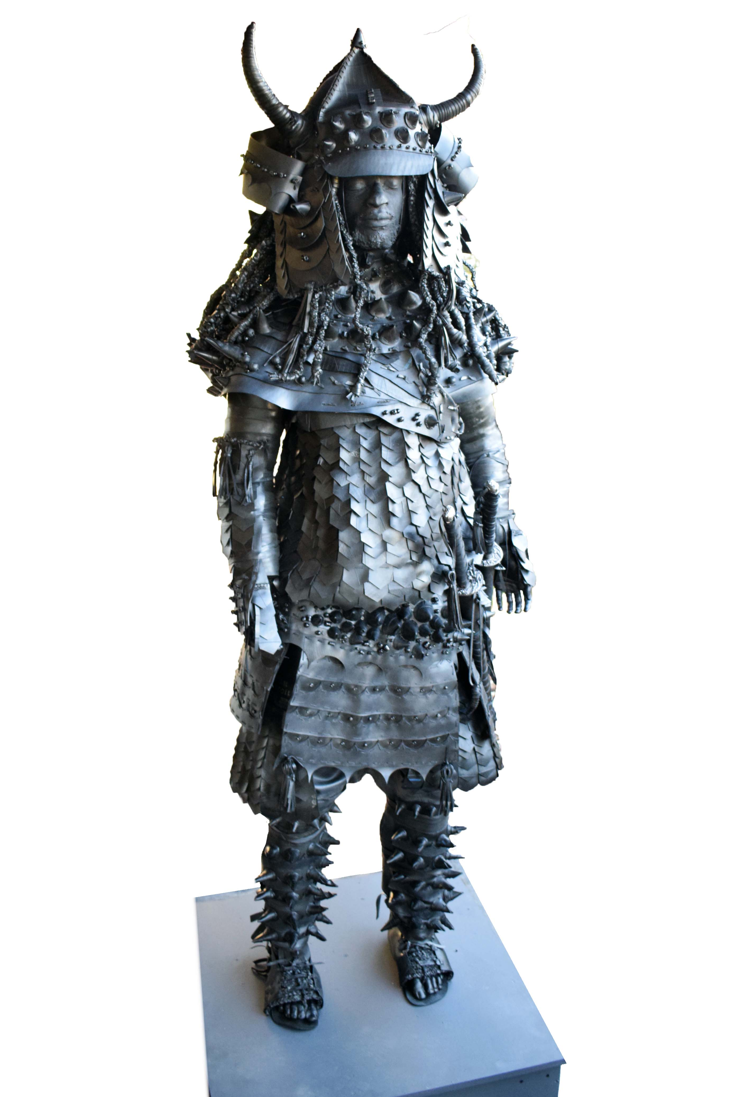 Another version of Yasuke, the African Samurai, wearing a suit of spiked armour and dreadlocks in his hair.