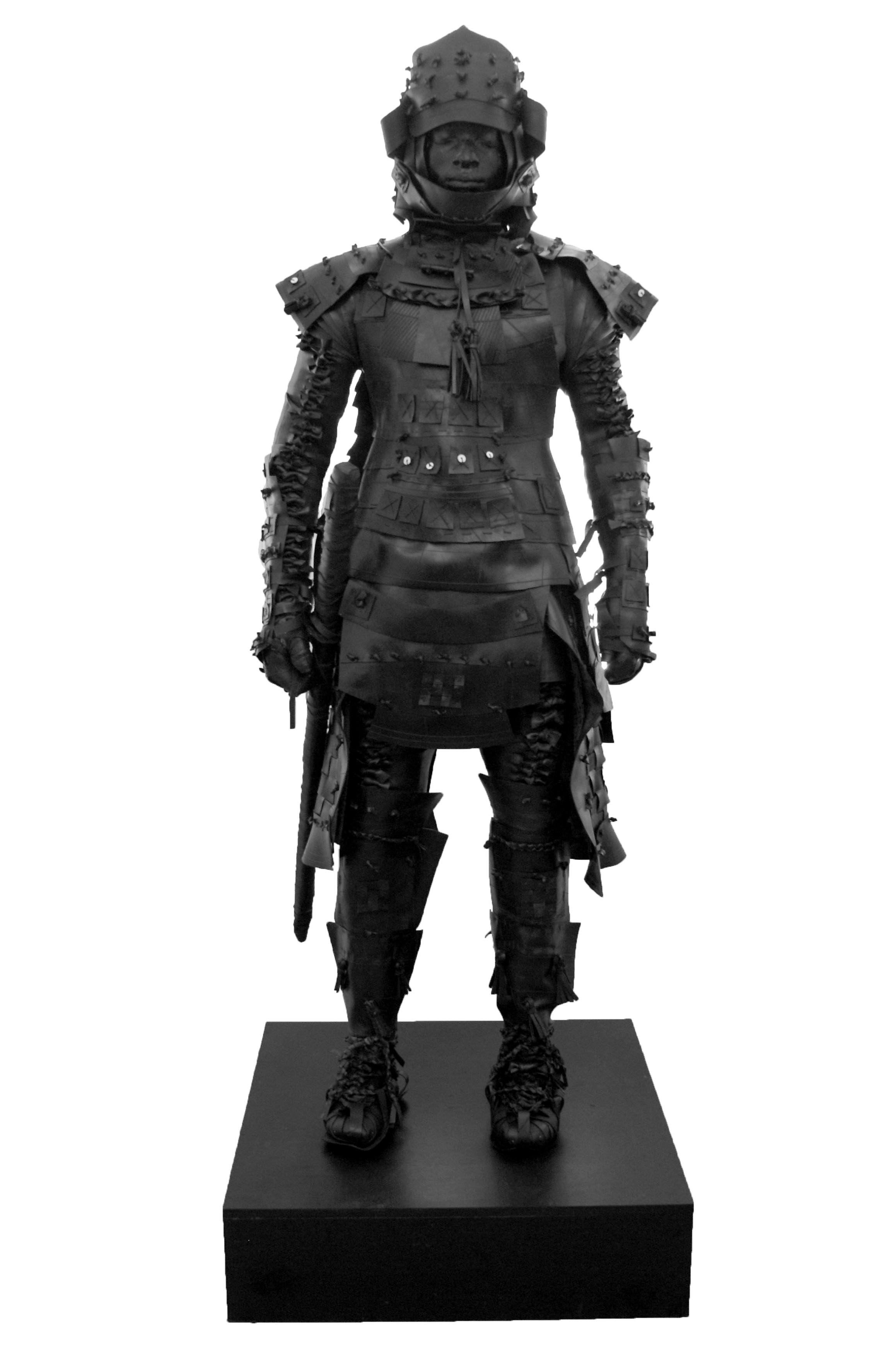 An interpretation of Yasuke, a samurai of black African descent who served a shogun by the name of Oda Nobunaga in late 16th Century feudal Japan, standing tall in samurai armour studded with ostrich shell beads, with a bow and arrows over his shoulder and a katana at his side.